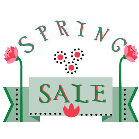 discount banner: Spring sale, discount hand drawn cartoon banner.