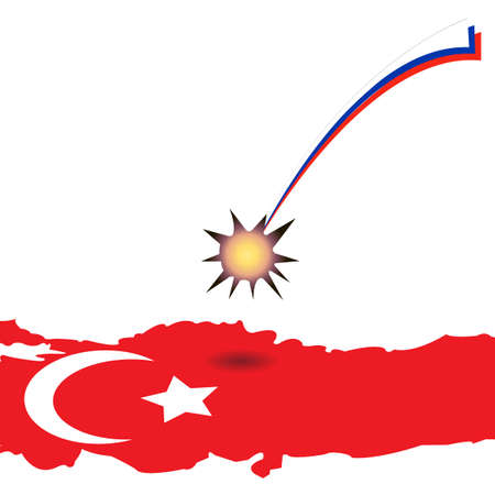 territorial: High resolution Turkey state flag and territorial borders combination.