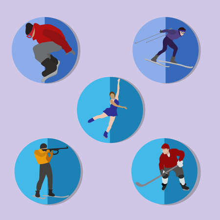 toboggan: Set of winter sport icons. Illustration