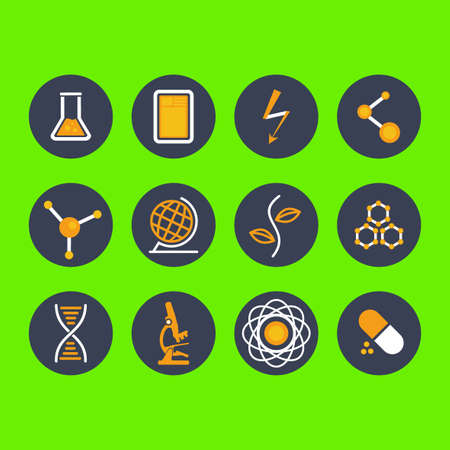 toxicology: Modern flat icon vector illustration collection  in stylish colors on high school and college education