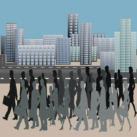 move in: People in move in the city center. Cityscape. Vector Illustration