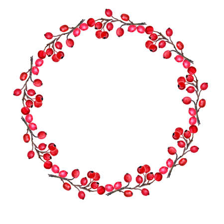red berries: Round wreath with red berries  isolated on white.