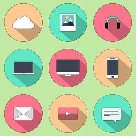 business communication: Set of web icons for business, finance and communication. Illustration