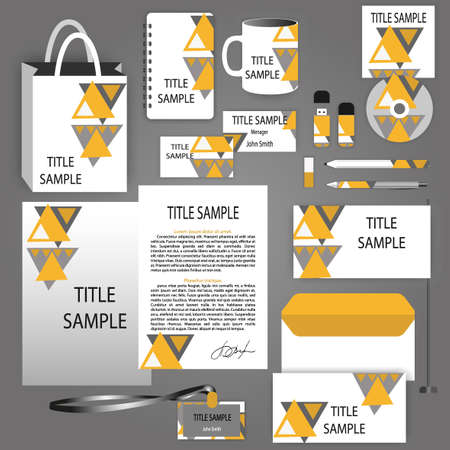 letter head: Yellow, black and white with triangle corporate identity template for your business includes CD Cover, Business Card, folder, envelope and letter head designs. Documentation for business.