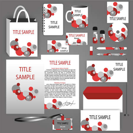 guideline: Gray corporate identity template with red round element. Vector company style for brandbook and guideline. Template includes CD Cover, Business Card, folder, envelope and letter head designs. Illustration