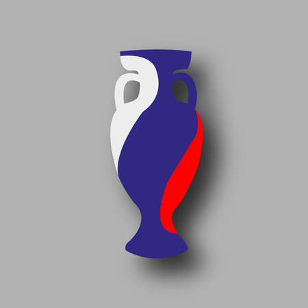bowl game: Russia participant. Prize for game. Golden award. Achievement for competition. Leadership symbol. Stylish honor bowl. Add score,text. Vector