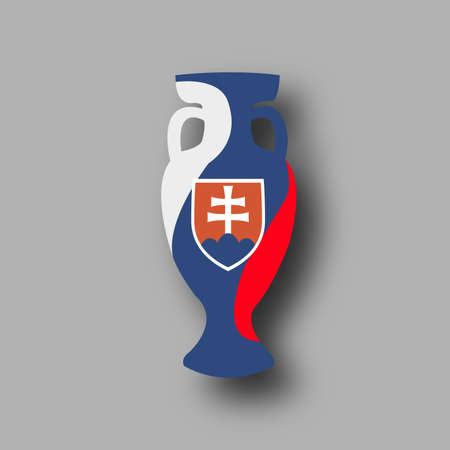 bowl game: Slovakia participant. Prize for game. Golden award. Euro football cup 2016. Achievement for competition. Leadership symbol. honor bowl. Add score,text. Vector