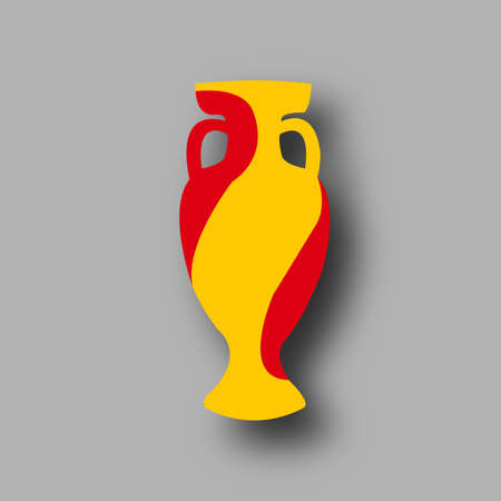participant: Championship cup Euro 2016 France. Spain participant. Prize for game. Golden award. Euro football cup 2016. Achievement for competition. Leadership symbol. Stylish honour bowl. Add score,text. Vector