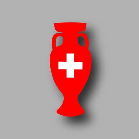 honour: Switzerland participant. Prize for game. Golden award. Achievement for competition. Leadership symbol. honour bowl. Add score,text. Vector
