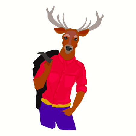 dressed: Hand drawn illustration of deer man with horns dressed up in fashionable style. Deer dressed up in cool clothes. Fashion animal design. Deer boy hipster. Vector creative poster. Magazine fashion look