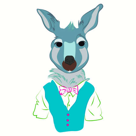 dressed: Hand drawn illustration of kangaroo man dressed up in fashionable style. kangaroo dressed in cool clothes., vest and bow tie. Fashion animal design. kangaroo hipster. Magazine fashion look. Vector