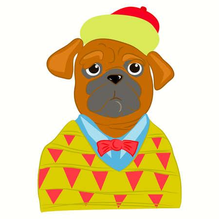 퍼그 개 남자의 손으로 그린 그림은 세련된 스타일로 입고. 강아지 멋진 옷을 입고. 패션 동물 디자인. 나비 넥타이에 강아지 힙 스터. 잡지 패션