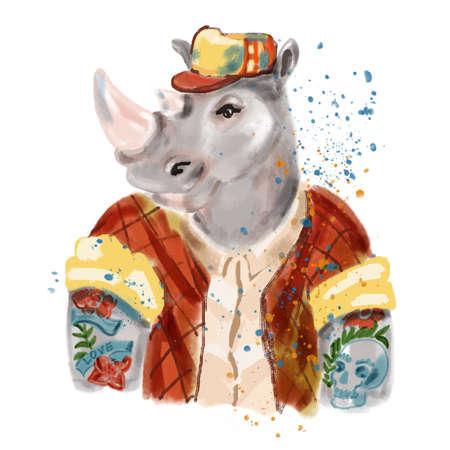 코뿔소 남자의 손으로 그린 그림 유행 스타일에 옷. 시원한 옷을 입은 코뿔소. 패션 동물 디자인입니다. 남성 코뿔소 힙 스터. 잡지 패션보세요. 창