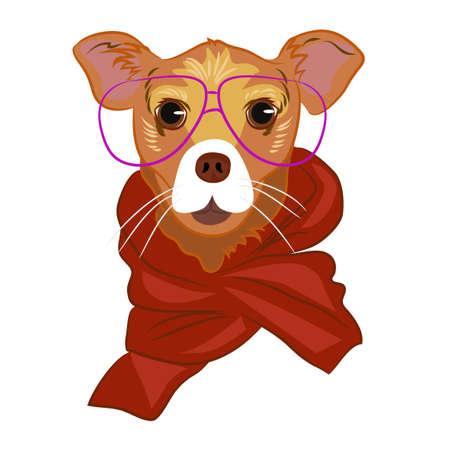 빨간색 스카프와 귀여운 안경 강아지의 초상화를 닫습니다. 쿨 힙 스터 영리한 동물입니다. 패션 힙 스터 강아지 흰색 배경에 고립입니다. 손으로 그린