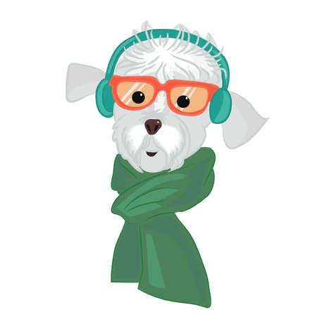 헤드폰 및 녹색 스카프의 강아지의 초상화를 닫습니다. 쿨 힙 스터 동물 음악을 수신 대기합니다. 흰색 배경에 고립 이어폰에서 패션 힙 스터. 손으로  일러스트