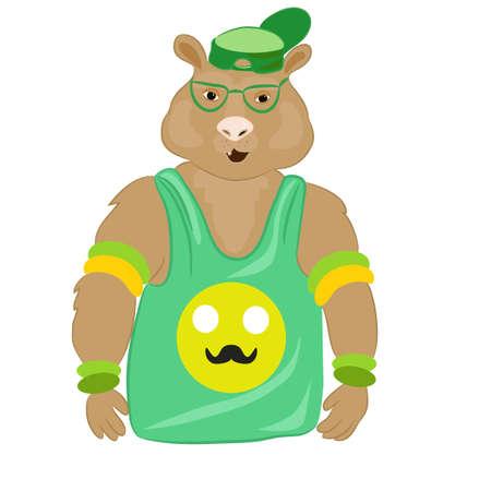 Crazy hamster hipster close-up portret. Cool hipster sportieve rat. Fashion dier op een witte achtergrond. Hand getrokken illustratie. Vector. T-shirt graphics. Voor posters, banners, dierenwinkels