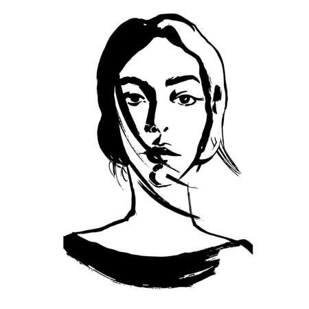 Het opstellen Close-up portret van de jonge vrouw. Vrouwelijk gezicht. Schets van een mooi meisje. Modieus meisje in sketch-stijl. Schattig abstract gezicht. Vector. Voor posters, banners, tijdschriften en T-shirt design