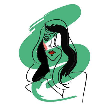 Tekening portret van de jonge vrouw. Vrouwelijk gezicht. Schets van mooi meisje met groene borstel spatten. Meisje in sketch-stijl. Schattig abstract gezicht. Vector. Voor posters, banners, tijdschriften en T-shirt design