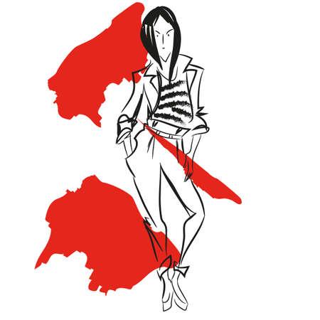귀여운 재킷과 바지 여자와 추상 회화. 레드 브러쉬 밝아진. 디자인을위한 패션 스케치. 스케치 스타일에서 소녀입니다. 벡터. 포스터, 배너, 잡지, T 셔
