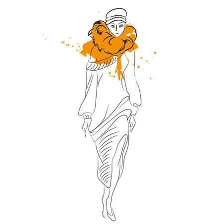 Vrouw in bontjas. Leuke mode winter meisje. Mooie vrouw in bont. Vector illustratie geïsoleerd. Modieuze schets. Meisje in sketch-stijl. Vector. Voor posters, banners, tijdschriften en T-shirt design Stock Illustratie