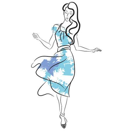 귀여운 여름 드레스와 파란색 브러시 밝아진에서 여자 추상 회화. 유행 스케치를 디자인합니다. 패션 소녀 스케치 스타일입니다. 벡터. 포스터, 배너,  일러스트