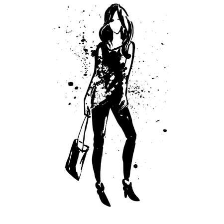 여자와 검정 잉크 반점 추상 회화. 디자인을위한 패션 스케치. 스케치 스타일 패션 소녀. 벡터 일러스트 레이 션. 포스터, 배너, 잡지, T 셔츠 디자인을