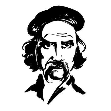 Ukrainian poet Taras Shevchenko. Writer, artist, public and political figure, folklorist and ethnographer. Ukrainian literature. Kobzar. Fashionable sketch.  Fashion poet in sketch-style. Vector