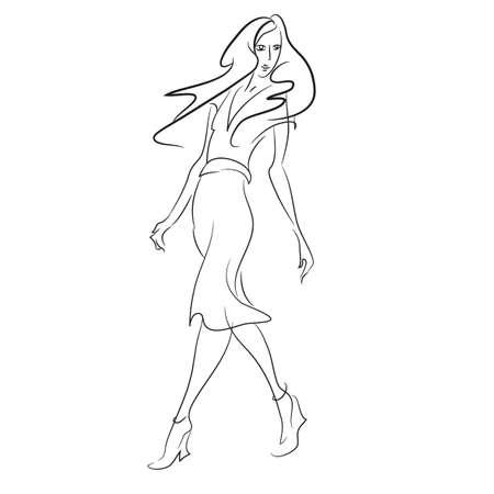 산책하는 긴 드레스에 여자와 추상 회화. 유행 스케치를 디자인합니다. 패션 소녀 스케치 스타일입니다. 벡터. 포스터, 배너, 잡지 및 T 셔츠 디자인 일러스트