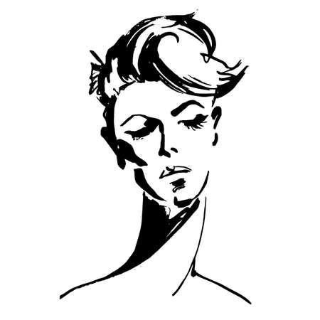 Close-up portret van de jonge vrouw. Vrouwelijk gezicht met kort haar. Schets van een mooi meisje. Modieus meisje in schets stijl. Schattig abstract gezicht. Vector. Voor posters, banners, tijdschriften en T-shirt design Stock Illustratie