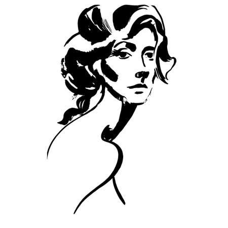 Close-up portret van de jonge vrouw. Vrouwelijk gezicht in profiel. Schets van een mooi meisje. Modieus meisje in schets stijl. Schattig abstract gezicht. Vector. Voor posters, banners, tijdschriften en T-shirt design