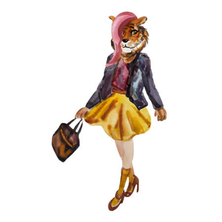 anthropomorphism: Hand drawn illustration of dressed up hipster tiger girl in colors. Fashion animal pattern. Cartoon character design. T-shirt graphics. Watercolor creative poster. Cute dressed tiger. Vector.