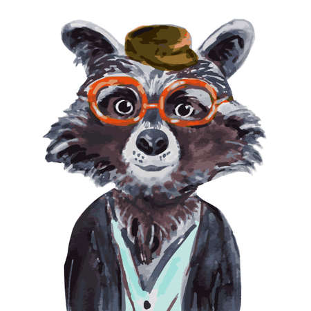 Raccoon hand painted watercolor illustration isolated on white background. Cute animal drawn in hipster style. Fashion animal design. Racoon boy hipster. Watercolor creative poster. Vector