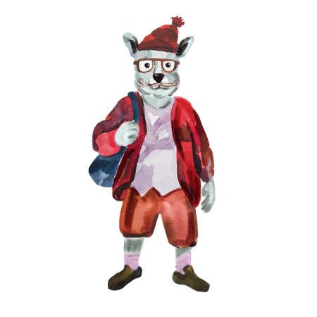 토끼의 손으로 그린 그림은 세련된 스타일로 입고. 토끼는 멋진 옷을 입고. 패션 동물 디자인. 토끼 소년 힙 스터. 수채화 창조적 인 포스터. 귀여