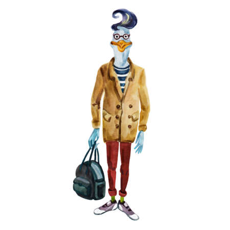 Watercolor fashion animal illustration. Anthropomorphic design, furry art. Hand drawn goose dressed up in modern clothes. Cartoon boy hipster. Watercolor creative poster. T-shirt graphics