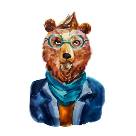 Hand drawn Illustration of hipster bear in scarf and glasses. Funny animal. Modern bear dressed up in cool clothes. Fashion animal design. Cartoon boy. Watercolor creative poster. T-shirt graphics Illustration