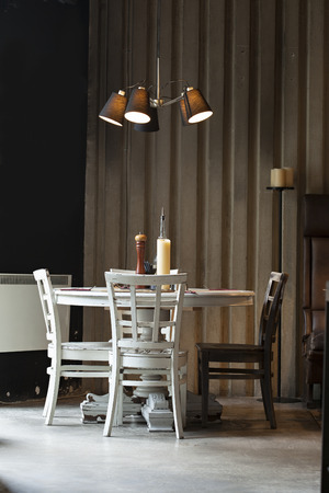 pult: table set up in restaurant interior Stock Photo