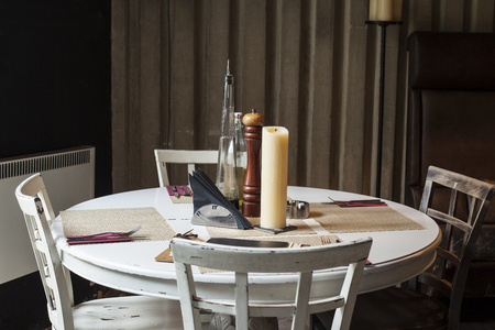 table set up in restaurant interior,shalow deepth of field Stock Photo