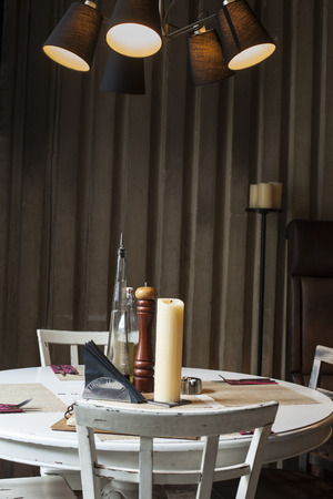 pult: table set up in restaurant interior,shalow deepth of field Stock Photo