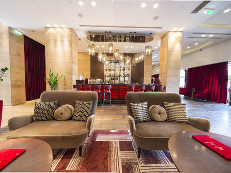 Luxury hotel lobby interior 스톡 콘텐츠