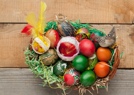 ortodox: Easter eggs and natural wooden country table, background and texture Stock Photo