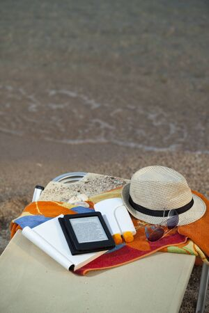 beach set. things for protection and reading