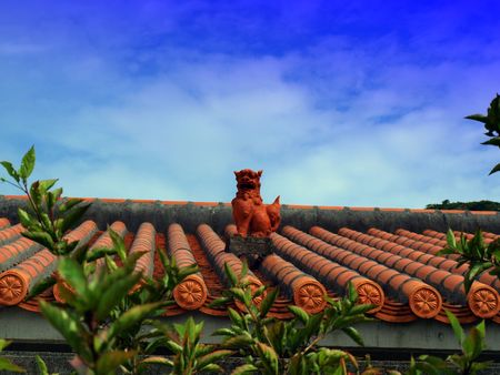 ubiquitous: Shisa on a traditional Okinawan roof.