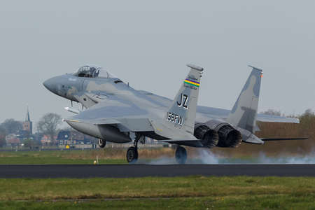 USAF F-15 Eagle touching down during the Frisian Flag exercise