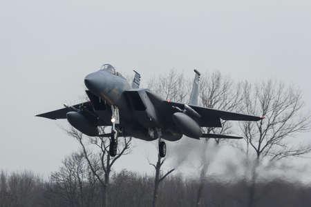 USAF F-15 Eagle tijdens de oefening Friese vlag Redactioneel
