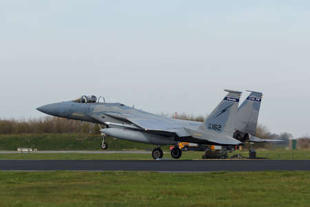 USAF F-15 Eagle touching down at Frisian Flag exercise
