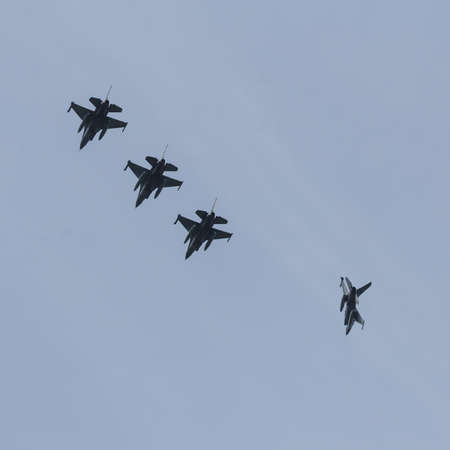 F-16`s are breaking formation at the Frisian Flag exercise