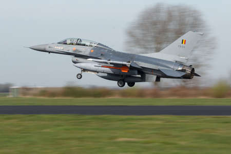 Lockheed Martin F-16B of the Belgian Air Force landing at Frisian Flag exercise