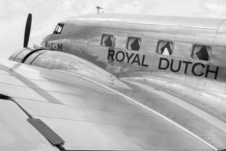 Vintage aircraft Douglas DC-2 Uiver or the KLM airline at Fly inn Editorial