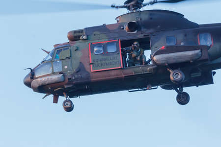Olst Feb 13 2018: Army and Air Force helicopter exercise Cougar landing to pick up soldiers