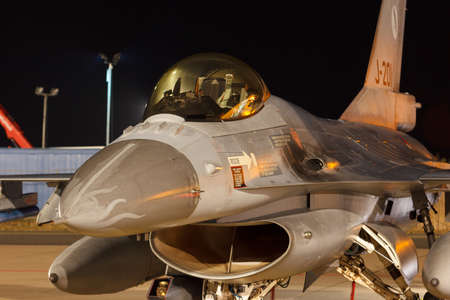 Leeuwarden Feb 6 2018: Night flight Exercise. F-16 Fighting Falcon. Redactioneel